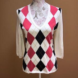J. Crew V- neck Argyle Sweater M pink blue